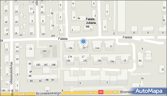 Toruń, Fałata Juliana, 13, mapa Torunia
