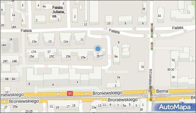 Toruń, Fałata Juliana, 15, mapa Torunia