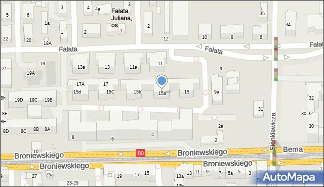 Toruń, Fałata Juliana, 15a, mapa Torunia