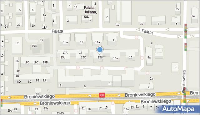 Toruń, Fałata Juliana, 15b, mapa Torunia