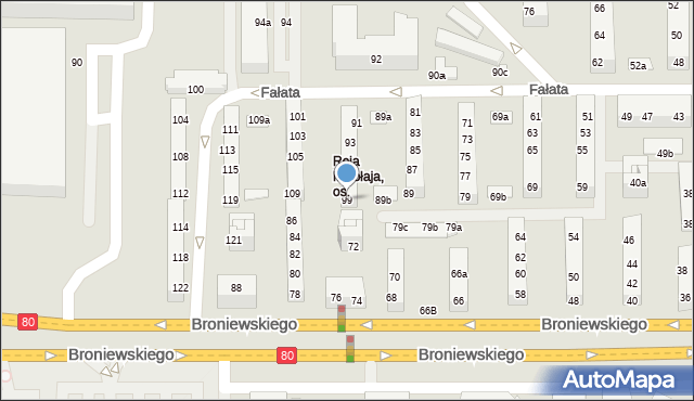 Toruń, Fałata Juliana, 99, mapa Torunia