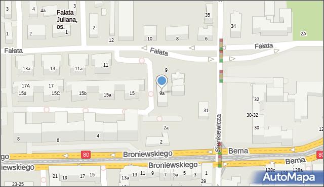 Toruń, Fałata Juliana, 9a, mapa Torunia