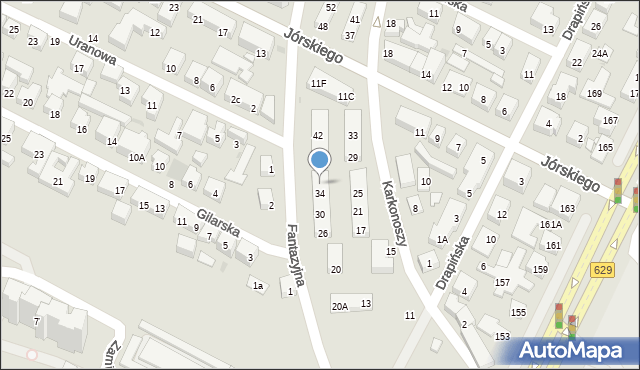 Warszawa, Fantazyjna, 36, mapa Warszawy