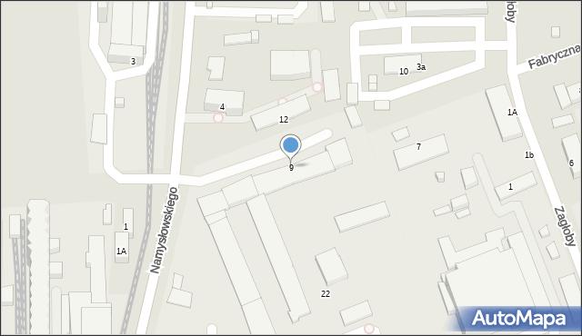 Zamość, Fabryczna, 9, mapa Zamościa