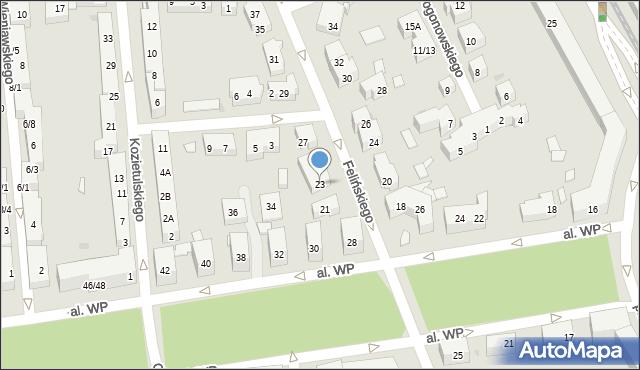 Warszawa, Felińskiego Alojzego, 23, mapa Warszawy