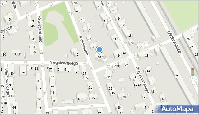 Warszawa, Felińskiego Alojzego, 36, mapa Warszawy