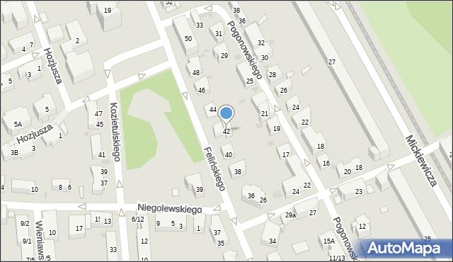 Warszawa, Felińskiego Alojzego, 42, mapa Warszawy