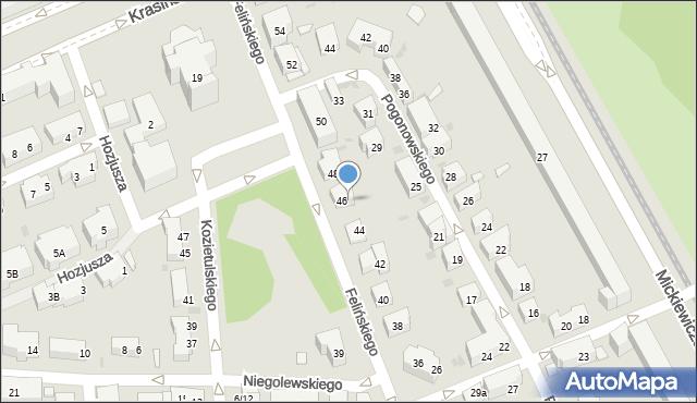 Warszawa, Felińskiego Alojzego, 443, mapa Warszawy