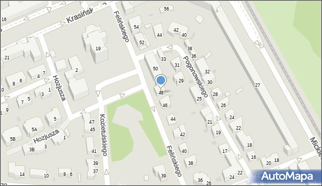 Warszawa, Felińskiego Alojzego, 48, mapa Warszawy