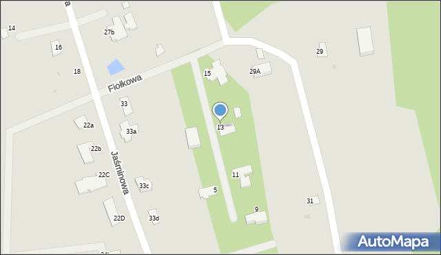 Grudziądz, Fiołkowa, 13, mapa Grudziądza