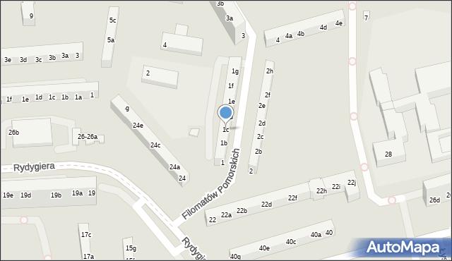 Toruń, Filomatów Pomorskich, 1c, mapa Torunia