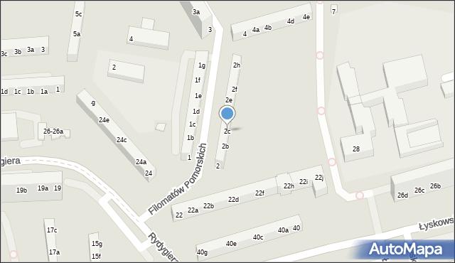 Toruń, Filomatów Pomorskich, 2c, mapa Torunia