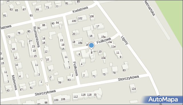 Toruń, Fiołkowa, 8, mapa Torunia