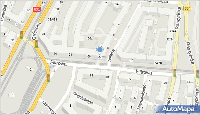 Warszawa, Filtrowa, 64, mapa Warszawy