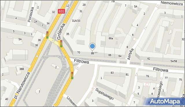 Warszawa, Filtrowa, 68, mapa Warszawy