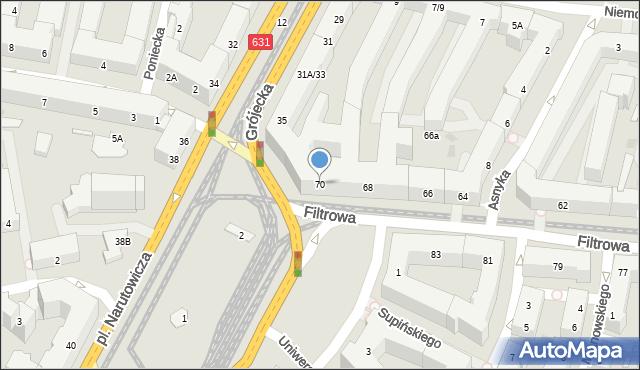 Warszawa, Filtrowa, 70, mapa Warszawy