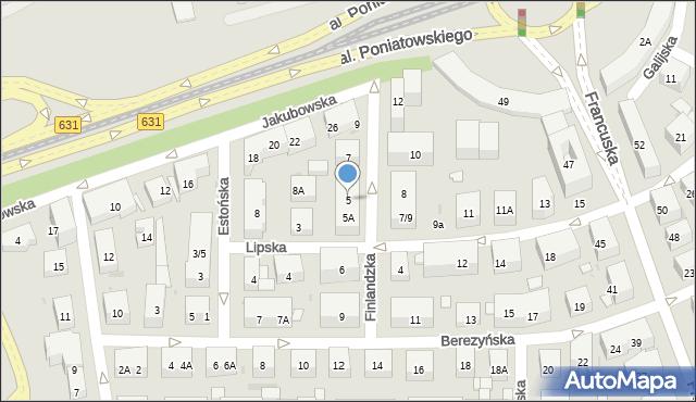 Warszawa, Finlandzka, 5, mapa Warszawy