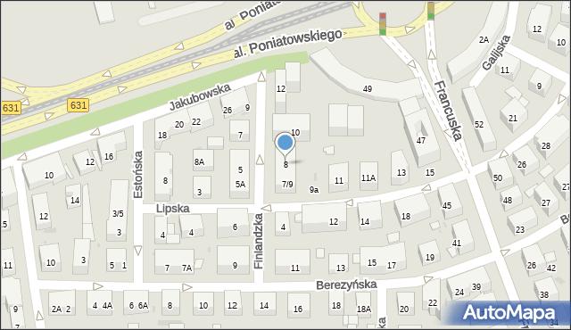Warszawa, Finlandzka, 8, mapa Warszawy