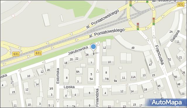 Warszawa, Finlandzka, 9, mapa Warszawy