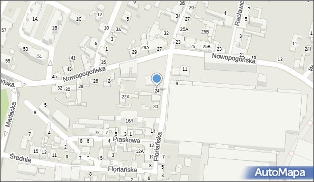 Sosnowiec, Floriańska, 24, mapa Sosnowca