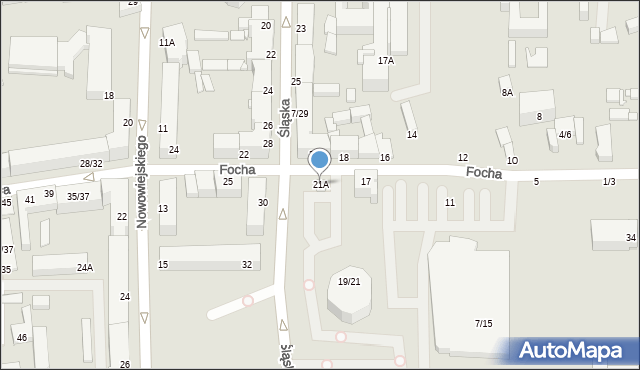 Częstochowa, Focha Ferdynanda, marsz., 21A, mapa Częstochowy