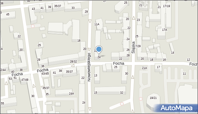 Częstochowa, Focha Ferdynanda, marsz., 24, mapa Częstochowy