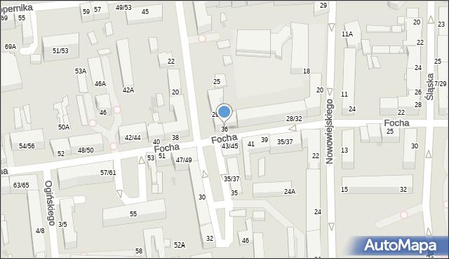 Częstochowa, Focha Ferdynanda, marsz., 36, mapa Częstochowy