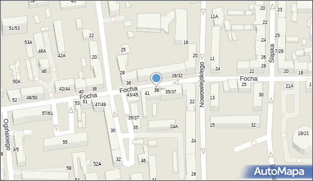 Częstochowa, Focha Ferdynanda, marsz., 39, mapa Częstochowy