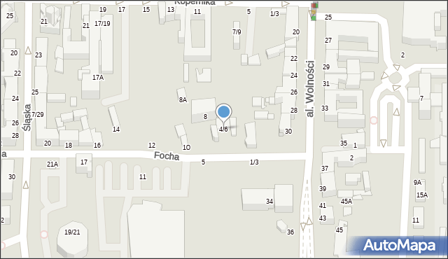 Częstochowa, Focha Ferdynanda, marsz., 6A, mapa Częstochowy