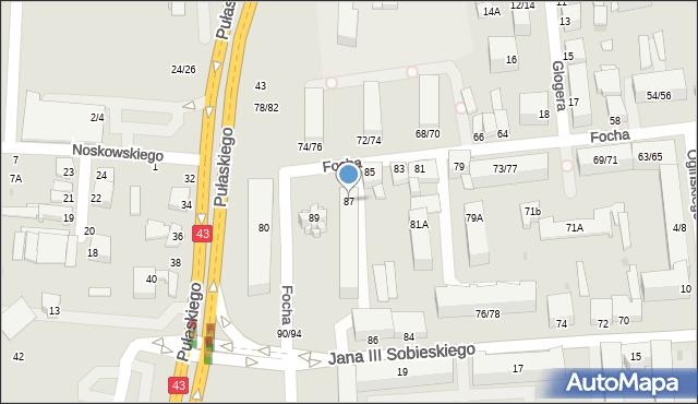 Częstochowa, Focha Ferdynanda, marsz., 87, mapa Częstochowy