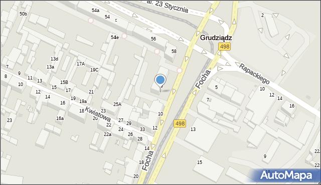 Grudziądz, Focha Ferdynanda, marsz., 8, mapa Grudziądza
