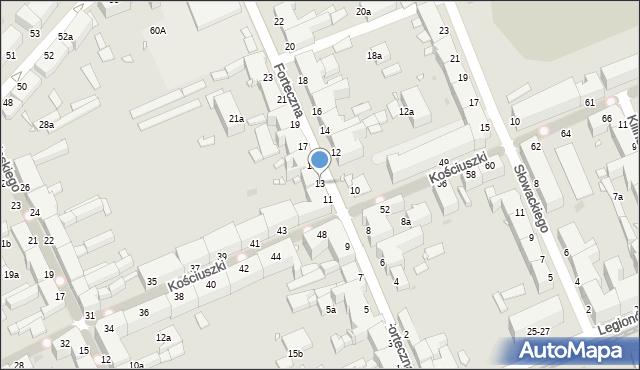 Grudziądz, Forteczna, 13, mapa Grudziądza