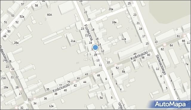 Grudziądz, Forteczna, 15, mapa Grudziądza