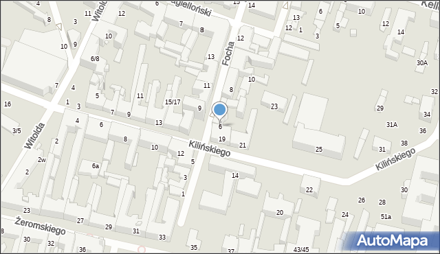Radom, Focha Ferdynanda, marsz., 6, mapa Radomia