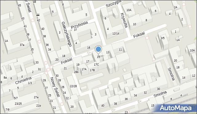 Warszawa, Foksal, 15, mapa Warszawy