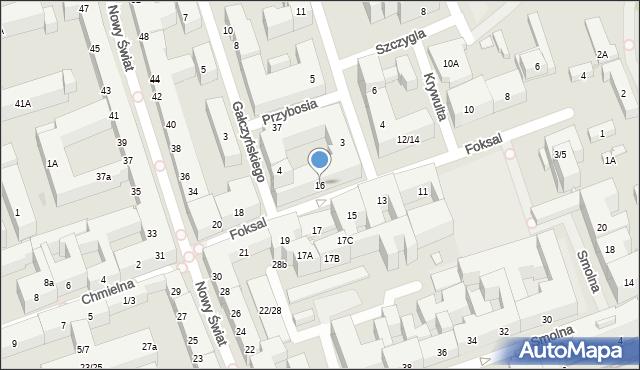 Warszawa, Foksal, 16, mapa Warszawy