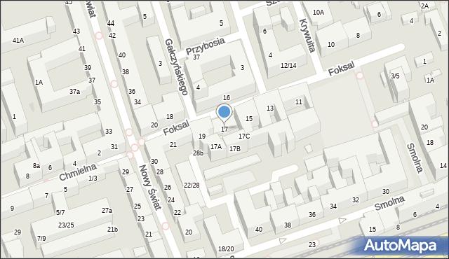 Warszawa, Foksal, 17, mapa Warszawy