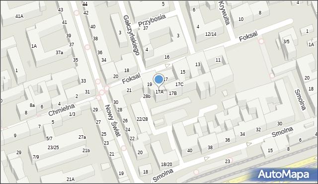 Warszawa, Foksal, 17A, mapa Warszawy