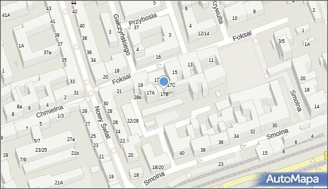 Warszawa, Foksal, 17B, mapa Warszawy