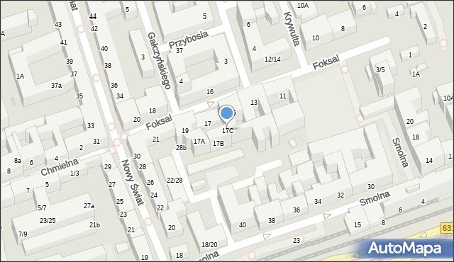 Warszawa, Foksal, 17C, mapa Warszawy
