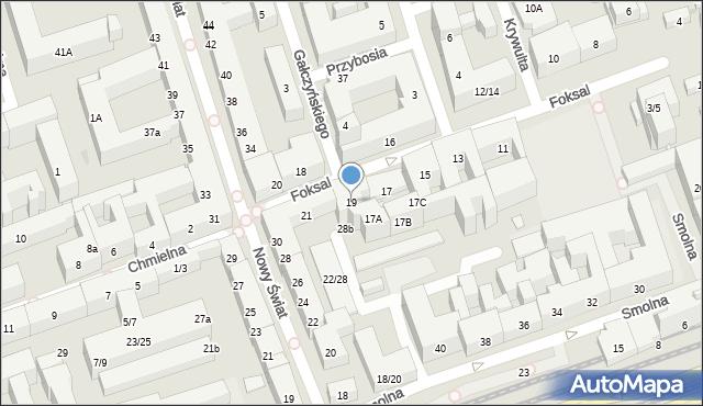Warszawa, Foksal, 19, mapa Warszawy