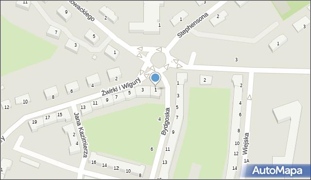 Chełm, Franciszka Żwirki i Stanisława Wigury, 1, mapa Chełma