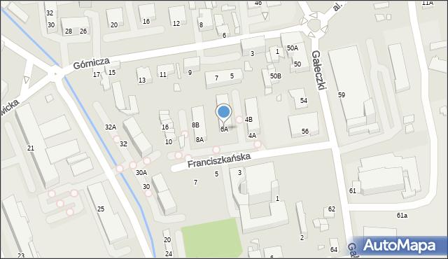 Chorzów, Franciszkańska, 6A, mapa Chorzów