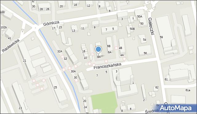 Chorzów, Franciszkańska, 8A, mapa Chorzów