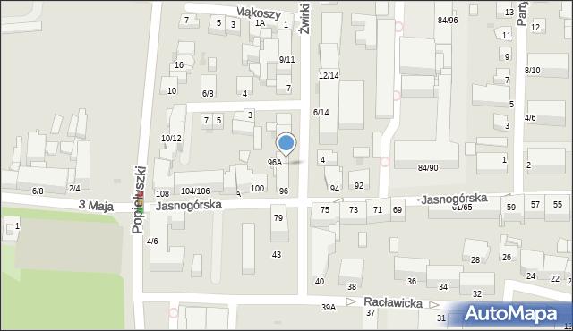 Częstochowa, Franciszka Żwirki i Stanisława Wigury, 1, mapa Częstochowy