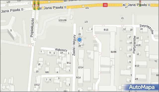 Częstochowa, Franciszka Żwirki i Stanisława Wigury, 16, mapa Częstochowy