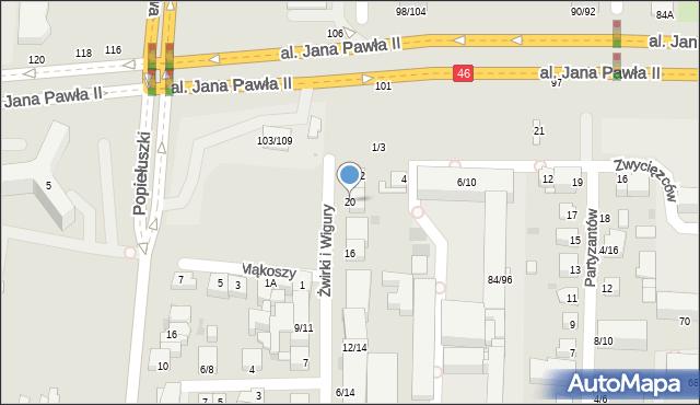 Częstochowa, Franciszka Żwirki i Stanisława Wigury, 20, mapa Częstochowy