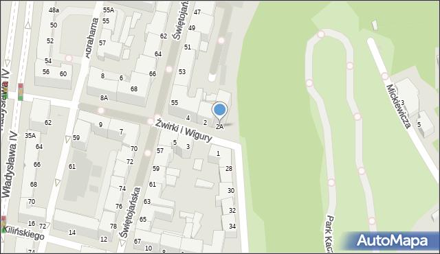 Gdynia, Franciszka Żwirki i Stanisława Wigury, 2A, mapa Gdyni