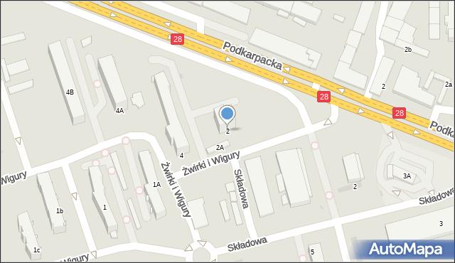 Krosno, Franciszka Żwirki i Stanisława Wigury, 2, mapa Krosna