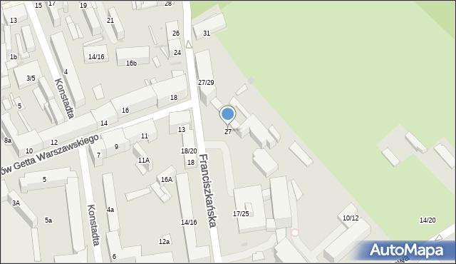 Łódź, Franciszkańska, 27, mapa Łodzi